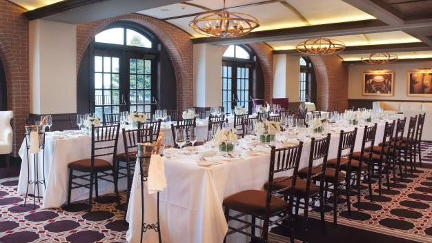 The Wine Salon with farm style tables